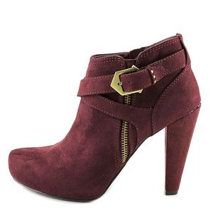 G by Guess Taylin 2 Booties in maroon faux suede